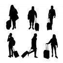 10 People with Luggage Silhouette (PNG Transparent)