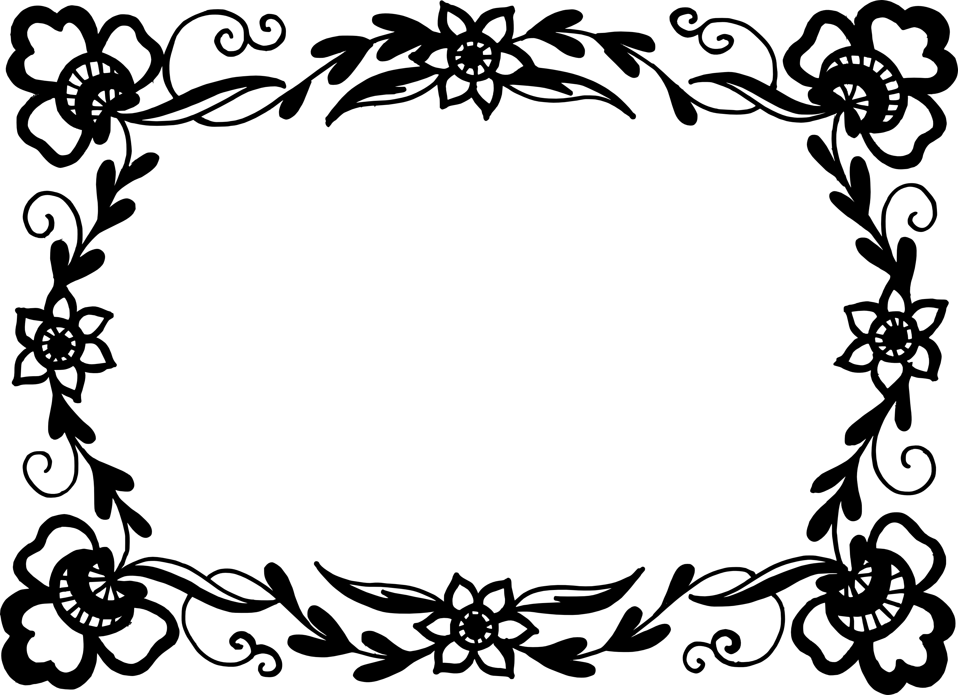 Free Download Png And Vector: 9 Rectangle Flower Frame Vector (PNG Transparent, SVG) Vol