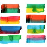 8 Two-Color Watercolor Brush Stroke (PNG Transparent)