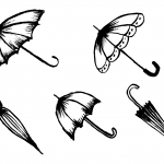 5 Umbrella Drawing (PNG Transparent)