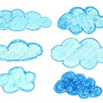 6 Crayon Cloud Drawing (PNG Transparent)