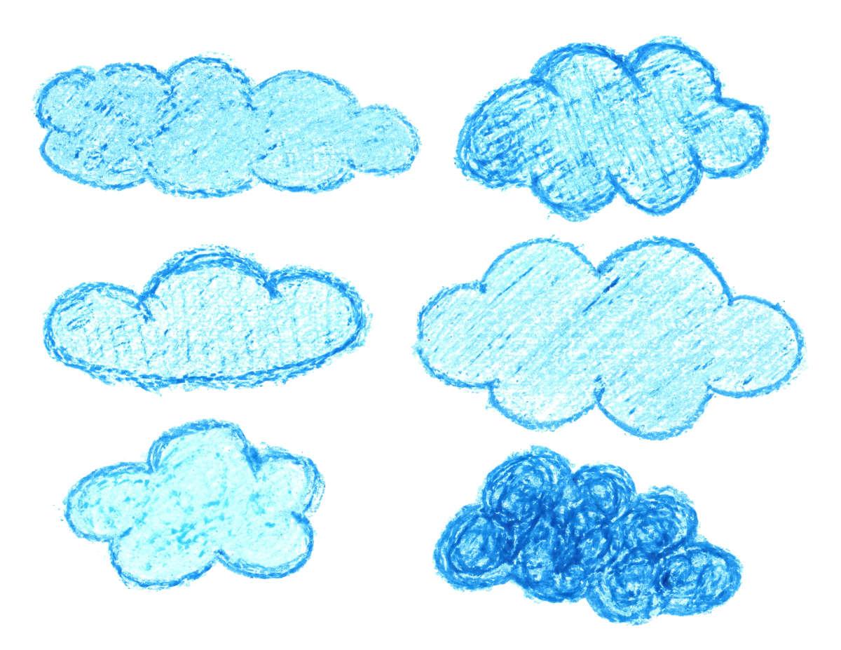 6 Crayon Cloud Drawing PNG Transparent