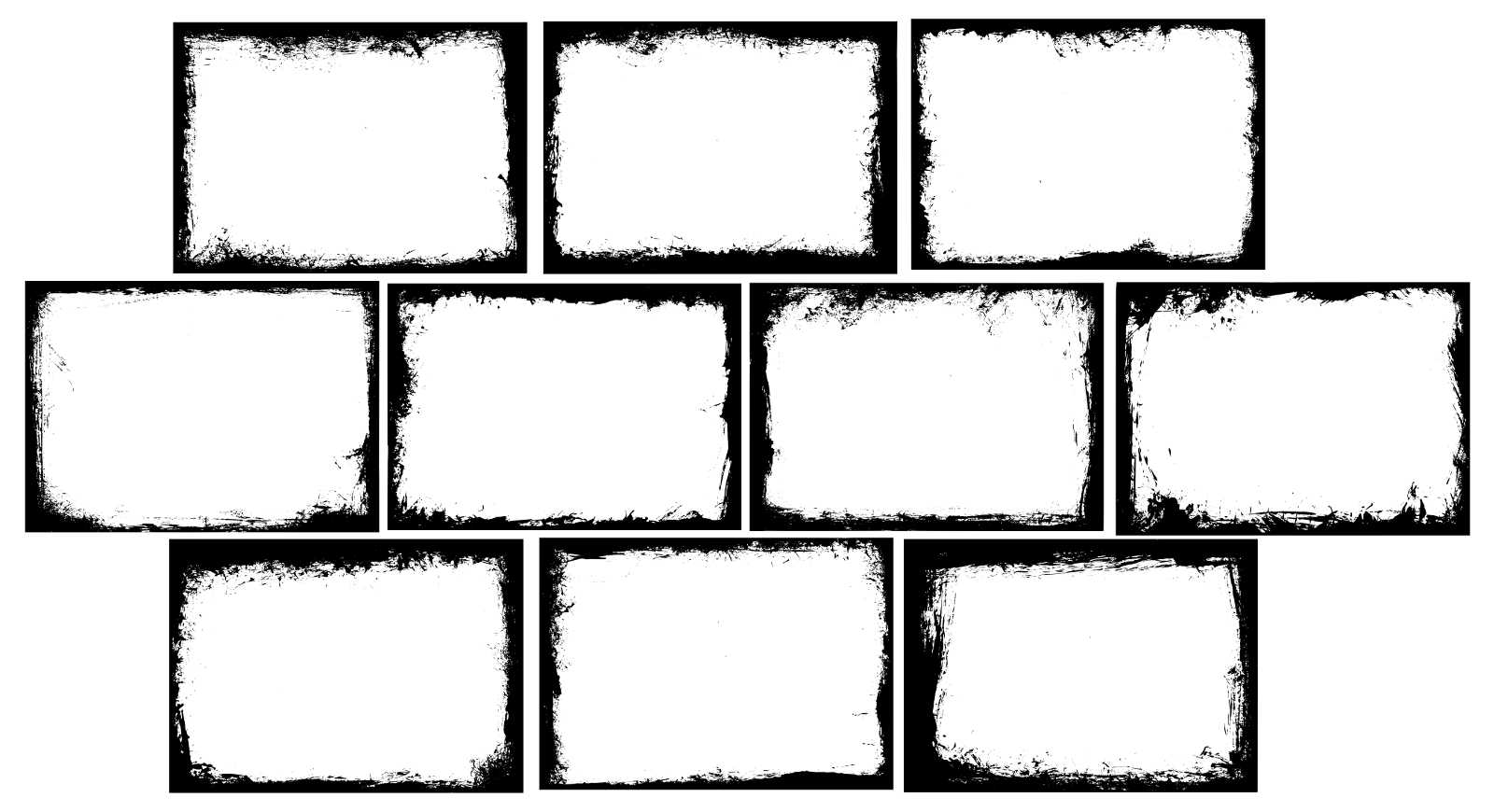 10 Rectangle Grunge Frame (PNG Transparent) Vol.4 | OnlyGFX.com
