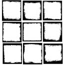 9 Square Grunge Frame (PNG Transparent) Vol.3
