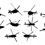 10 Helicopter Top View Silhouette (PNG Transparent)