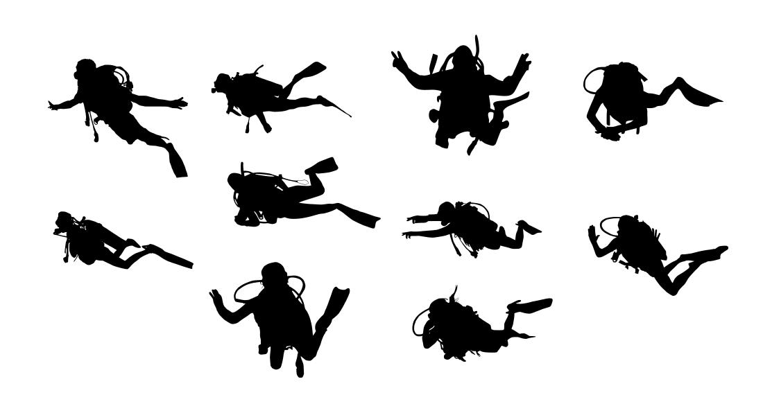 10 Scuba Diver Silhouette (PNG Transparent) | OnlyGFX com