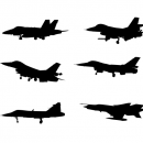 12 Fighter Plane Side View Silhouette (PNG Transparent)