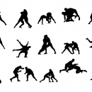 15 Wrestling Silhouette (PNG Transparent)
