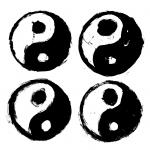 4 Grunge Yin Yang (PNG Transparent)