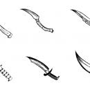 6 Knife Drawing (PNG Transparent)