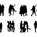8 Girl Group Photo Silhouette (PNG Transparent)