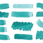 14 Turquoise Green Watercolor Brush Stroke (PNG Transparent)