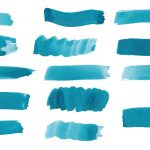 14 Turquoise Watercolor Brush Stroke (PNG Transparent)