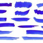 16 Blue Ink Brush Stroke (PNG Transparent)