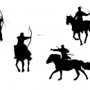 4 Horse Archer Silhouette (PNG Transparent)