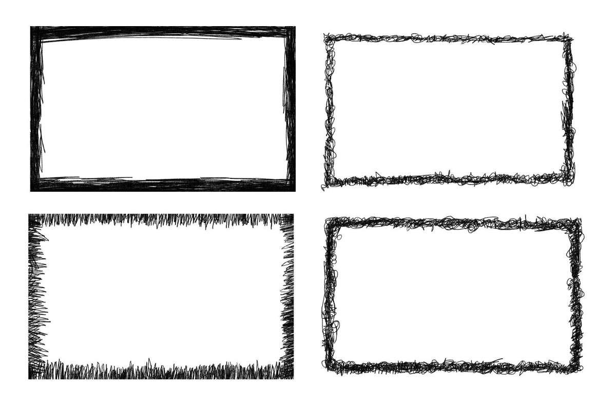 4 Rectangle Scribble Frame PNG Transparent OnlyGFXcom