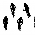 6 Bicycle Ride Silhouette Front View (PNG Transparent)