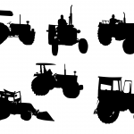 6 Tractor Silhouette (PNG Transparent)