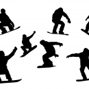 7 Snowboarder Silhouette (PNG Transparent)