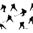 8 Hockey Player Silhouette (PNG Transparent)