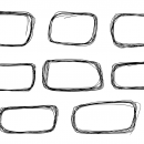 8 Rounded Rectangle Scribble Banner (PNG Transparent)