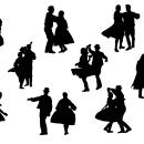 9 Couple Folk Dance Silhouette (PNG Transparent)