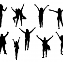 9 People with Hands Up Silhouette (PNG Transparent)