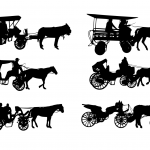 6 Horse and Carriage Silhouette (PNG Transparent)