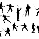 8 Fencing Silhouette (PNG Transparent)