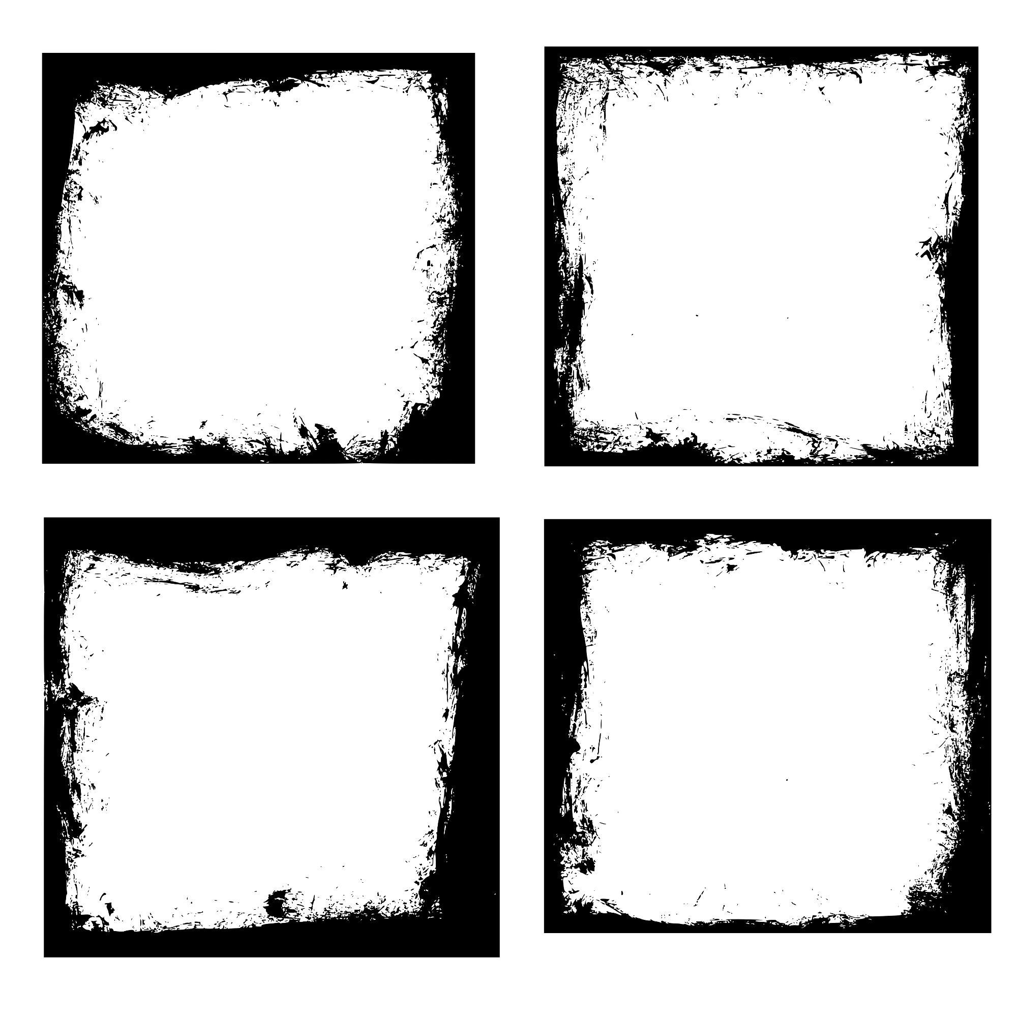4 Grunge Square Frame (PNG Transparent) Vol. 4