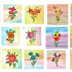 15 Flower Bouquet Watercolor Painting Background (JPG)