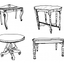 4 Antique Table Drawing (PNG Transparent)
