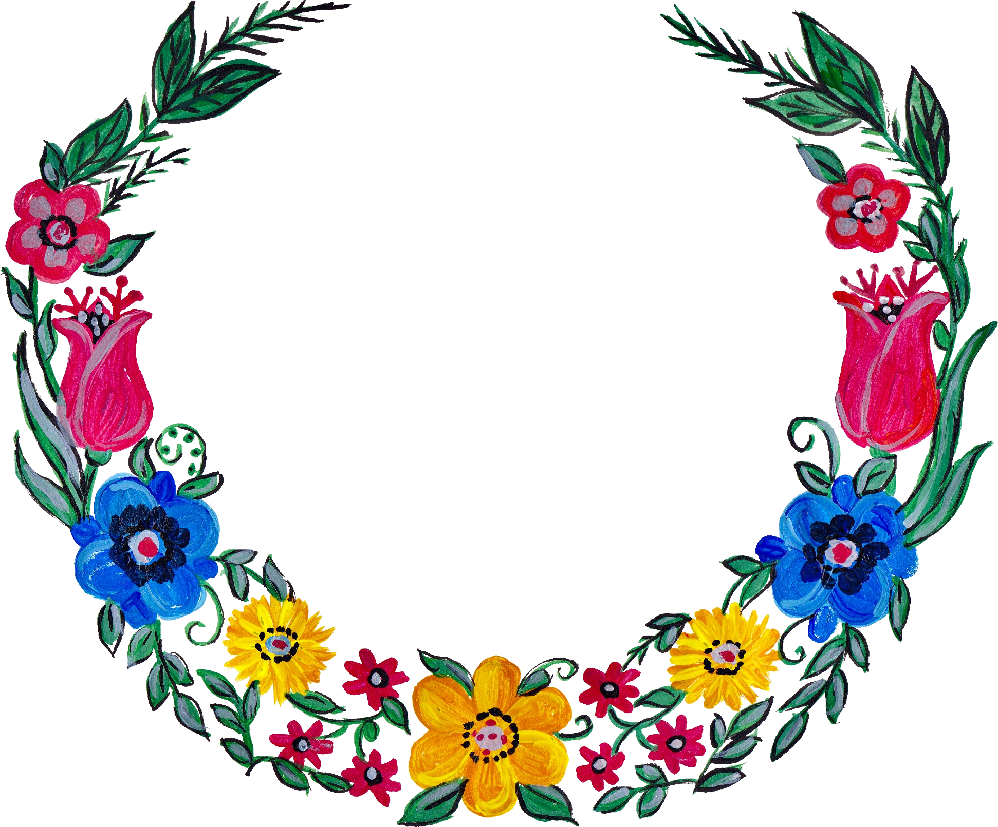 4 Flower Wreath Painting Png Transparent Onlygfx Com