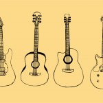 4 Guitar Drawing (PNG Transparent)