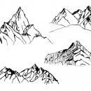 4 Mountain Drawing (PNG Transparent) Vol.2