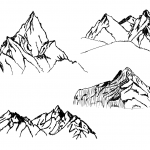 4 Mountain Drawing (PNG Transparent) Vol.2