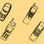 4 Old Mobile Phone Drawing (PNG Transparent)