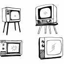 4 Old Television Drawing (PNG Transparent)