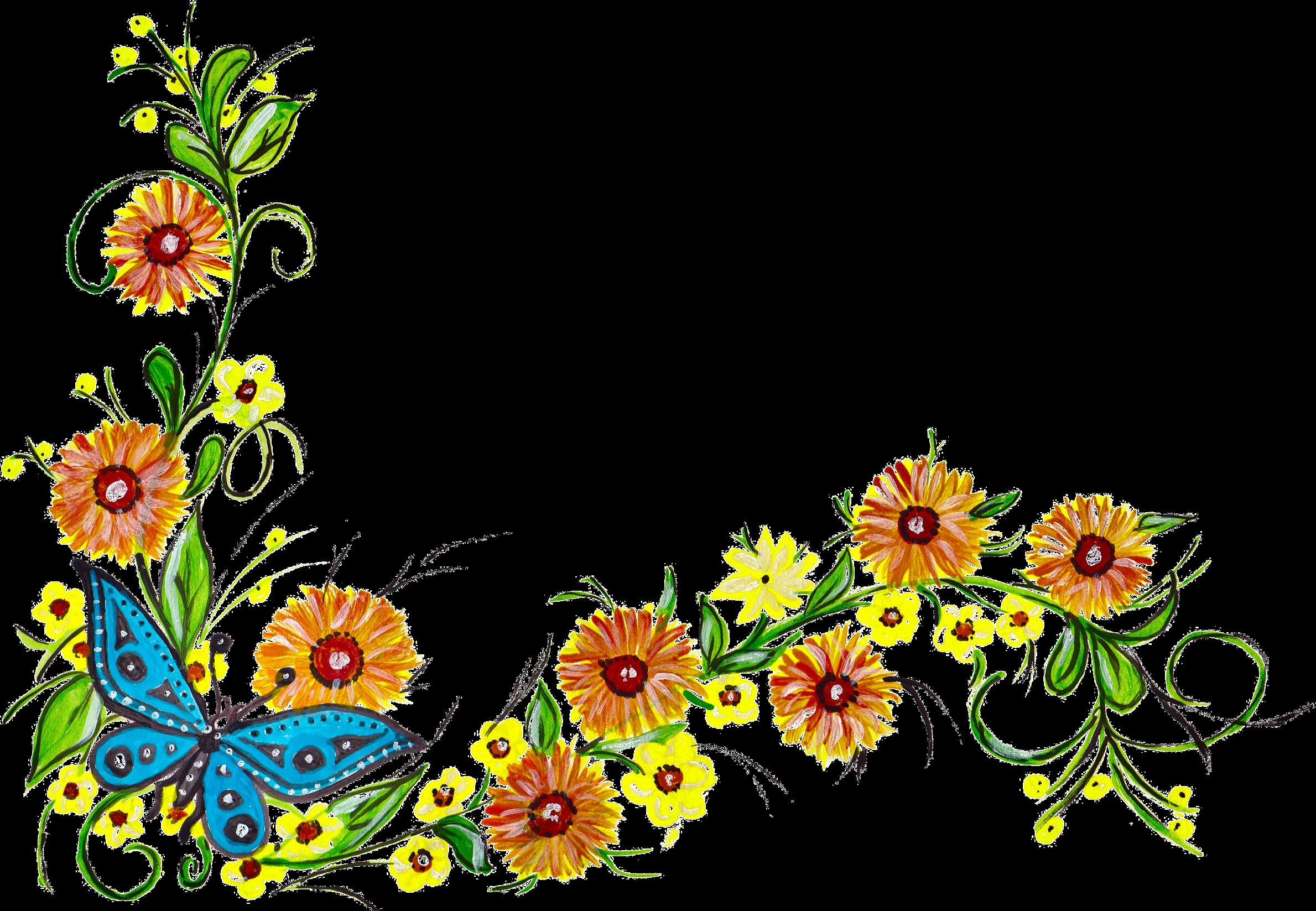 5 Flower Butterfly Corner (PNG Transparent) | OnlyGFX.com