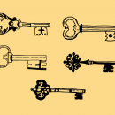 5 Skeleton Key Drawing (PNG Transparent)