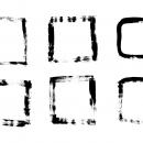 6 Grunge Brush Stroke Square Frame (PNG Transparent)