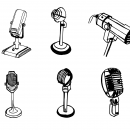6 Old Microphone Drawing (PNG Transparent)