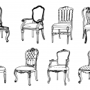 8 Vintage Antique Chair Drawing (PNG Transparent)