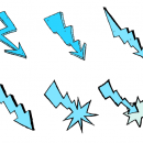 6 Comic Lightning Bolt (PNG Transparent)