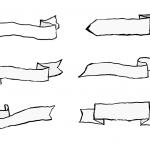 9 Hand Drawn Ribbon Banner (PNG Transparent)