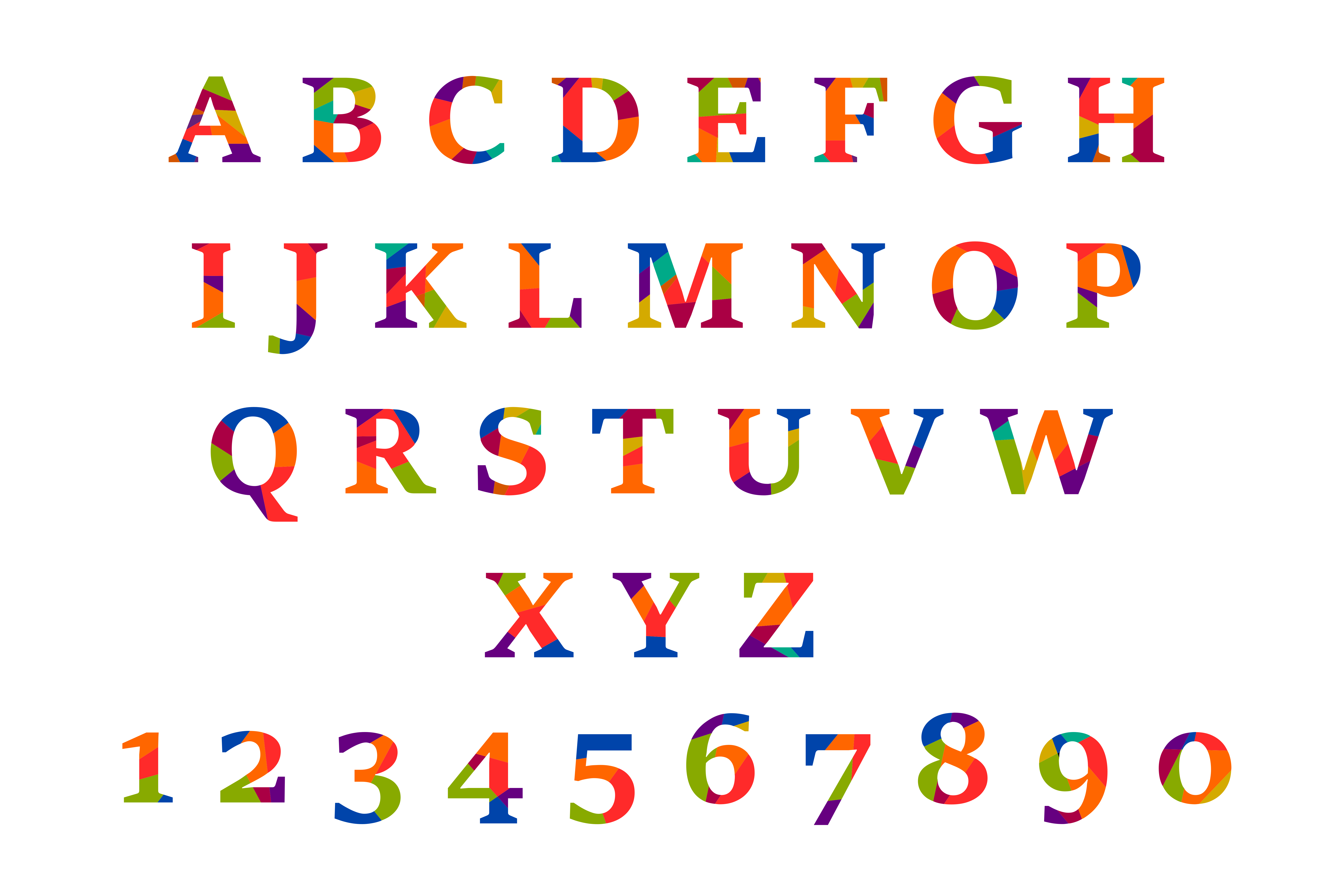 Colorful Alphabet Vector (PNG Transparent, SVG) | OnlyGFX.com
