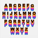 Retro Rainbow Alphabet Vector (PNG Transparent, SVG)