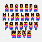 Retro Rainbow Alphabet Vector (PNG Transparent, SVG)
