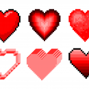 6 Pixel Heart (PNG Transparent)