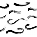 10 Curved Grunge Brush Stroke (PNG Transparent)